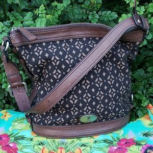 Fossil leather/jacquard  bag